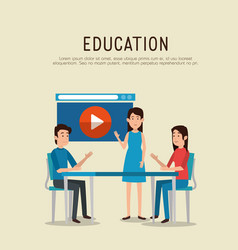 group of people with education online icons vector image