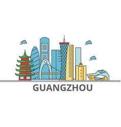 Guangzhou city skyline buildings streets vector