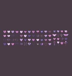 hearts icon big set flat in purple vector image