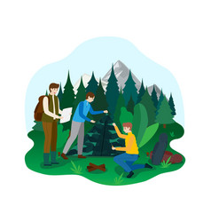 Hiking camping outdoor national park area male vector
