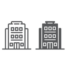 hotel line and glyph icon architecture and travel vector image