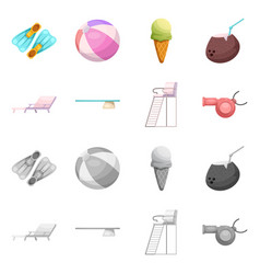 Isolated object of pool and swimming icon vector