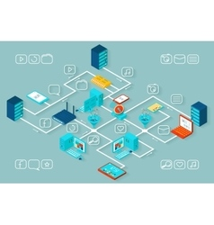 isometric data infographics vector image