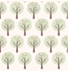 kawaii smiley face tree seamless pattern vector image
