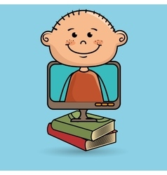 Kids screen book icon vector