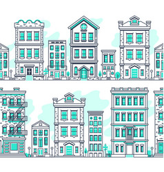 line art city seamless landscapes outline housing vector image