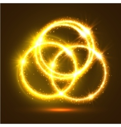 luminous sparkling circles golden light flashes vector image