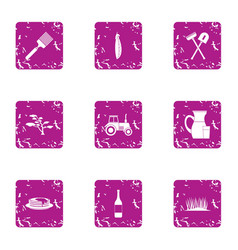 Marginal icons set grunge style vector