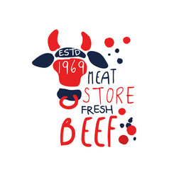 meat store logo template premium beef vintage vector image