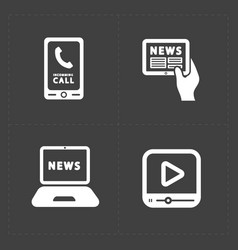 Media icons set on dark background vector