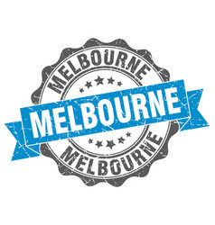 melbourne round ribbon seal vector image