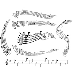 Music notes on score vector