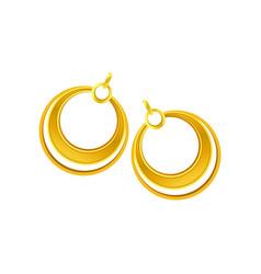 Pair gold earrings in form rings vector