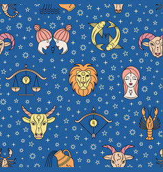 Pattern with zodiac signs vector