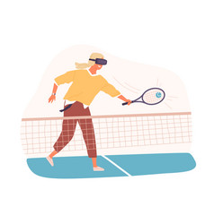Person playing tennis in virtual reality using vr vector