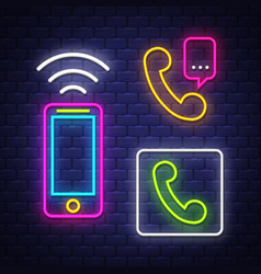 phone communication neon signs collection vector image