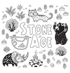 prehistoric stone age print in cartoon vector image
