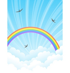 rainbow and clouds vector image