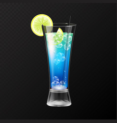Realistic cocktail blue lagoon glass vector
