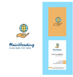 Safe world creative logo and business card vector