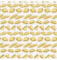 sandwiches set stripes seamless pattern vector image