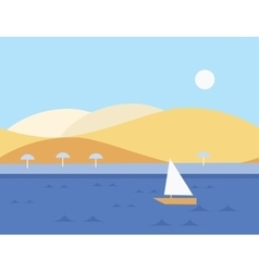 Seamless Cartoon Nature Landscape with Sailboat vector
