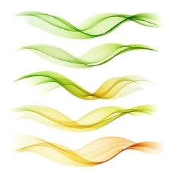 Set abstract color wave smoke lines vector image vector image
