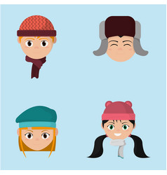 set children head with winter hat clothes vector image