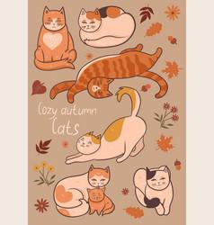 Set cozy autumn cats graphics vector