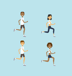set diversity man woman running mix race male vector image