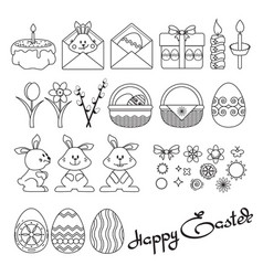 set easter icons on white vector image vector image