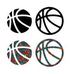 set four basketball balls vector image