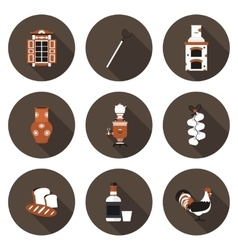 set of flat icons village vector image