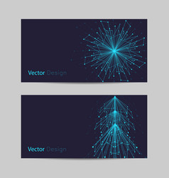 Set of horizontal banners abstract snowflake and vector