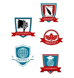 Set of university and college symbols vector image