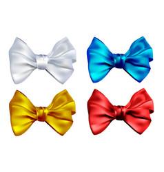 set realistic color bows vector image