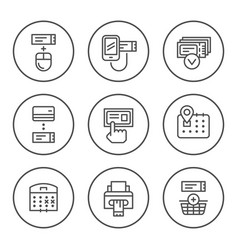 Set round line icons of booking tickets vector
