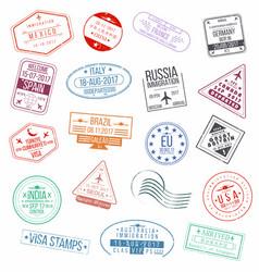 Set visa passport stamps international vector