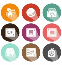 Solid icons scans tooth shadow vector