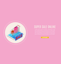 super sale online supermarket store 3d isometric vector image