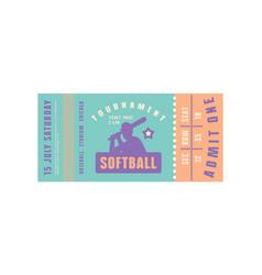 template softball ticket vector image