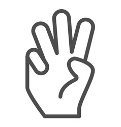 three fingers up line icon number three vector image