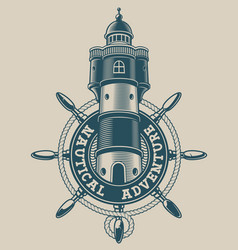 vintage nautical emblem with a lighthouse in ship vector image