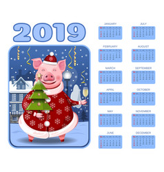 wall calendar for the year 2019 chinese pig year vector image