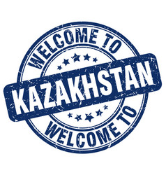 welcome to kazakhstan blue round vintage stamp vector image
