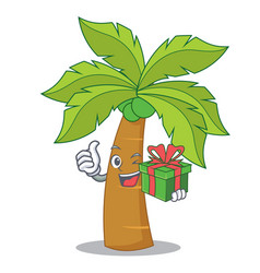 With gift palm tree character cartoon vector
