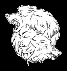 Young beautiful girl with angry wolfs muzzle vector