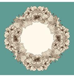 Frame made of vintage flowers vector