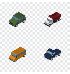 Isometric transport set of armored autobus vector