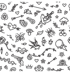 Old School Tattoo Seamless Pattern vector image